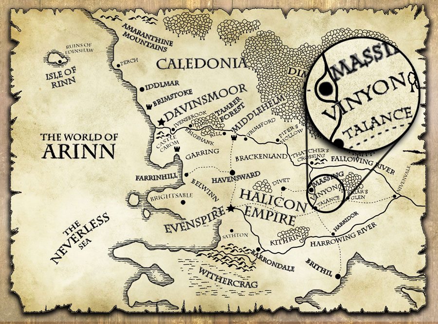 Vinyon Province fantasy map from The Last Motley